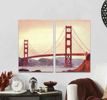 Stunning landmark canvas print featuring the iconic Golden Gate Bridge! Easy to apply and take down whenever the need may be.