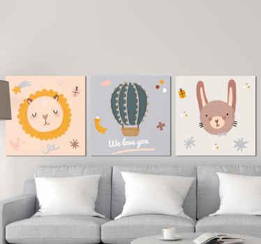 Adorable pack de trois tableaux muraux pour enfants parfaits pour leur chambre d'enfant ou leur chambre! Très facile à accrocher et simple à entretenir.