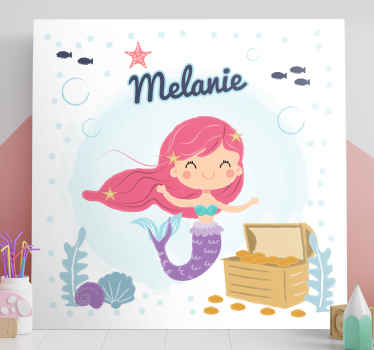 An incredible kids customisable canvas print featuring a mermaid for their room or nursery. Discounts available right now.