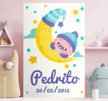 An adorable customisable wall art canvas that can be placed in your little boy's nursery with his name and date of birth! +10,000 satisfied customers.