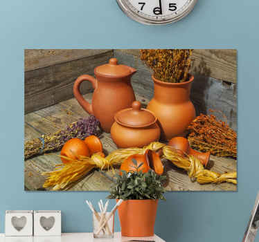 Incredible ceramic canvas print of realistic Romania jars! Sign up right now to receive 10% off your first order with us.