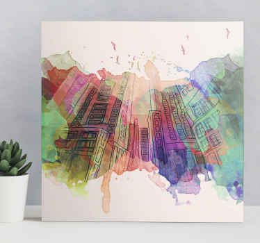If you love abstract designs then this colorful abstract modern building skyline canvas art would be a great idea to decorate with.