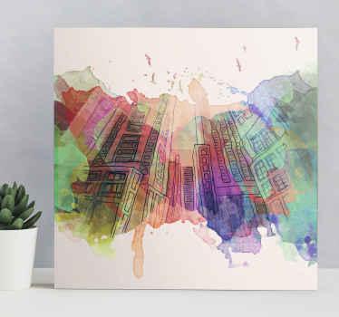 如果您喜欢抽象设计,那么这种色彩鲜艳的抽象现代建筑天际线画布艺术将是一个不错的主意。
