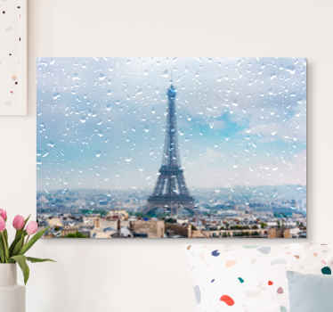 Cityscape canvas art of Paris, with the Eifel towel standing tall and the city drizzling with rain drops. Original and suitable to decorate any space.