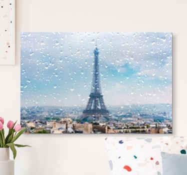 巴黎的城市景观画布艺术,埃菲尔毛巾高高站立,城市蒙蒙着雨滴。原始且适合装饰任何空间。