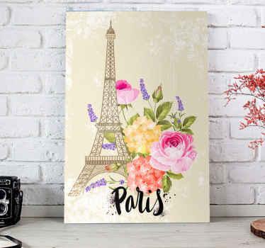 Obraz na płótnie przedstawiający wieżę eiffla wraz z pięknym, oszczędnym bukietem kwiatów. Jest drukowany z wysokiej jakości wykończeniem.