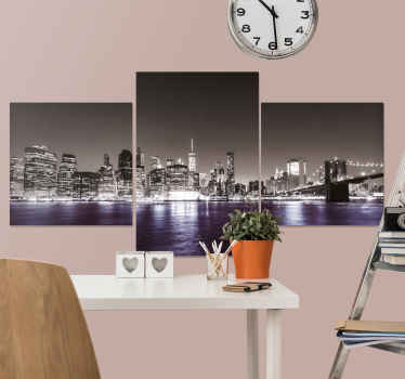 NYC skyline canvas art that would always make your imagination and thought filled with the calmness and sweet feeling of viewing the city at nigh.