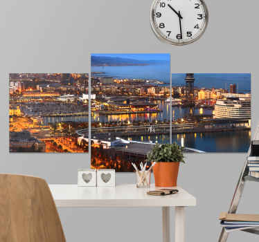 This cityscape wall canvas art gives you a view and of what Barcelona city looks at night. It is original, durable and printed in quality finish.