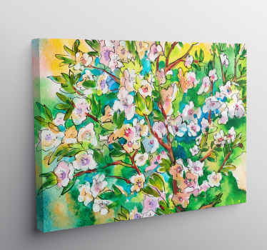 Tree canvas print which  features a bouquet of painted flowers in amazing shades of orange, purple and blue. Sign up for 10% off.