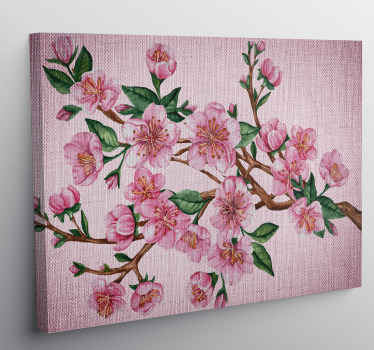Pink flower canvas print which t features a beautiful image of a tree branch covered in a stunning pink flowers and leaves.