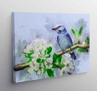 Bird canvas print which  features a stunning image of a painted bird on a tree branch full of white flowers. Choose your size.