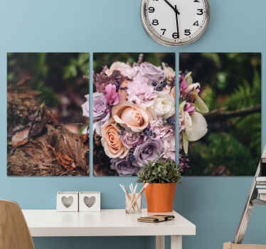 Flower canvas art which features a stunning image of a bouquet of roses in the middle of a forest. High quality materials.