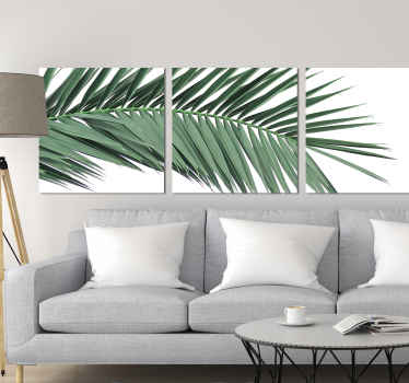 Plant wall canvas which features an image of a tropical branch with leaves with a white background. Sign up for 10% off.