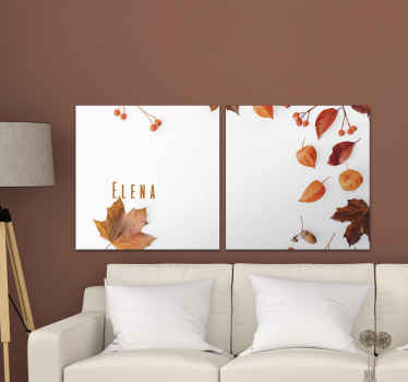 Personalised plant canvas which features an image of various Autumn leaves and berries with the option to add your name amongst them.