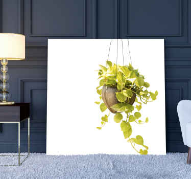Plants canvas print which features a stunning image of a hanging basket with a brightly coloured plant inside. High quality.