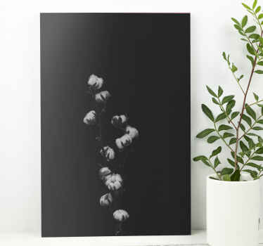 Plant canvas art which features an image of a cotton plant in stunning shades of black and white. Extremely long-lasting material.