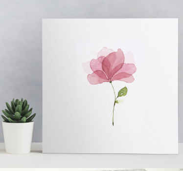 Pink flower canvas wall art which features an image of a single pink flower which looks like it has painted with watercolours.
