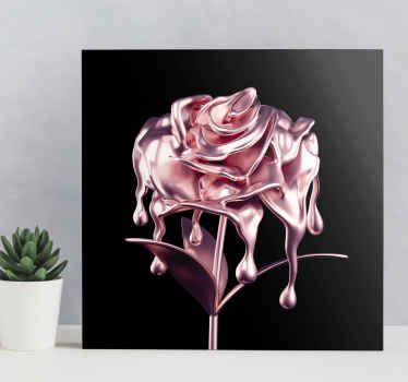 Impression sur toile rose qui présente une belle image d'une fleur rose qui semble être faite de métal en fusion. Rabais disponibles.