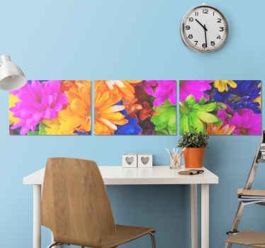 Kvetinová tlač na plátno, ktorá ponúka ohromujúci obraz mnohých pestrofarebných kvetov. Použité vysoko kvalitné materiály.