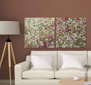 Polje stenske umetnosti s platnom iz makovega cvetja, ki na lep in ljubek način izboljša videz vašega prostora. Je izviren in trpežen.