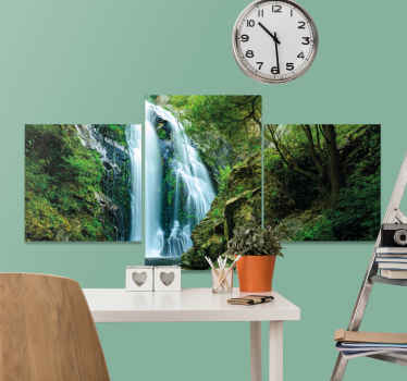 Waterfall canvas print which features a beautiful image of a natural waterfall deep within a green forest. Easy to apply.