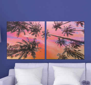 Pam tree canvas which  features a stunning image of a group of palm trees in the sunset. This image was taken at Koh Lanta Beach, Thailand.