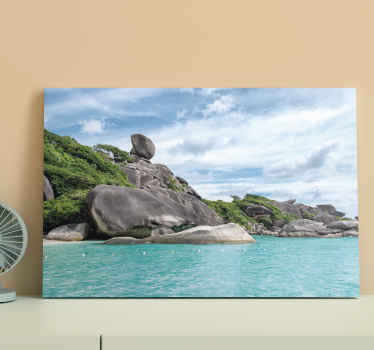 Landscape canvas print which  features a stunning image of a rocky coastline with beautiful clear waters surrounding it. Discounts available.