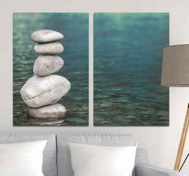 Zen canvas wall art which features an image of a pile of 5 pebbles all stacked on top of each other in a body of water. Choose your size.