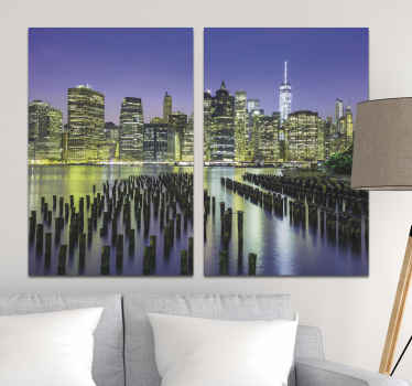 Manhattan city skyline  city canvas prints to beautify your home with a modern and luxury look. Two canvasses with 3D view of Manhattan city at night.