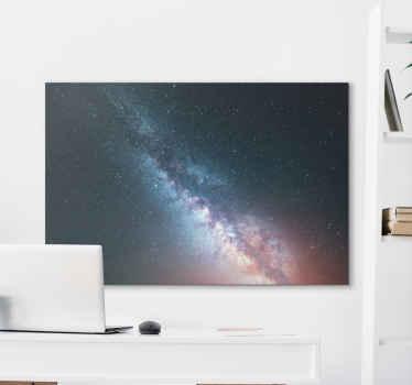 Moderne leinwandwandkunst der sternenhimmelblauen nacht. Einfaches raum-leinwanddesign, das erscheinen von sternen bei nacht illustriert. Es ist original und langlebig.