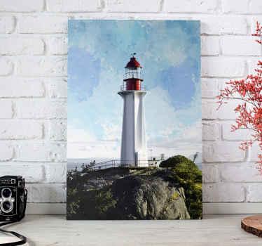 Realistinen merenrantakuva kankaalle, joka kuvaa kevyttä taloa meressä. Kangas on painettu korkealaatuisena kuvana ja viimeistelynä.