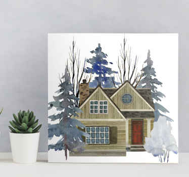 This beautiful house illustration rustic canvas art is suitable to decorate any part of a house. It can be placed on a living room, bedroom, etc.