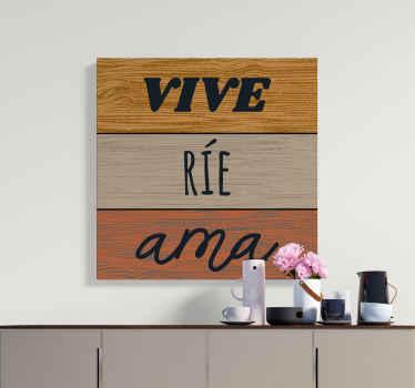 """¿Está buscando un cuadro estilo rústico con inscripción de texto de motivación? Este diseño con frase """"vive, ríe y ama"""" será tuyo"""