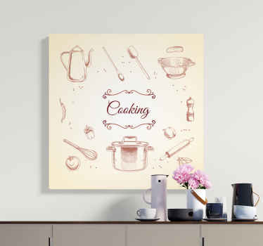 Lovely and ideal kitchen canvas wall art decoration containing cooking utensils, spices and vegetable design illustrations.