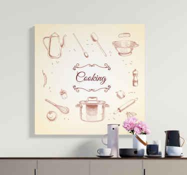 Kedves és ideális konyhai vászon fali art dekoráció, amely edényeket, fűszereket és zöldségtermi illusztrációkat tartalmaz.
