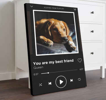 Amazing Spotify music playing canvas art for music lovers and enthusiast. The design is customizable with name of your favorite song and photo cover.