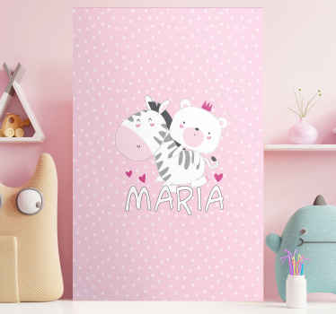 Personalised zebra canvas which  features a cute picture of a bear riding a zebra with your child's name underneath. +10,000 satisfied customers.