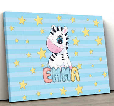Zebra canvas print which features an adorable image of a baby zebra surrounded by stars with your child's name underneath. Sign up for 10% off.