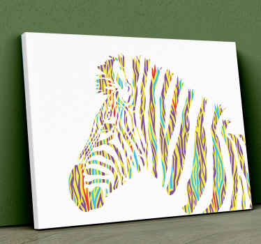This animal canvas print is a colourful portrait with vibrant yet delicate colours of a Zebra in a unique, vintage style. Gift it to someone special!