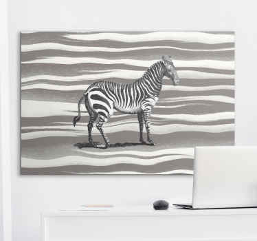 Zebra canvas print which features an image of a zebra which looks like it has been drawn with a grey zebra print background.