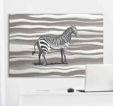 холст с изображением зебры, на котором изображена зебра, которая выглядит так, как будто она нарисована на сером фоне принта зебры.