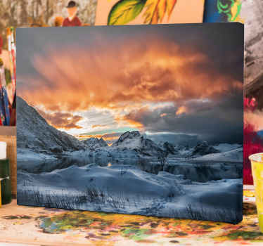 An amazing mountain landscape canvas art with snow blanket on the mountains. Above the mountain is cloud with sunset. It is original and durable.