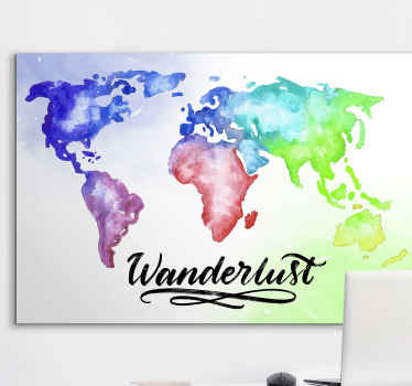 World map canvas wall art in watercolor texture prints. It is inscribed with the text 'Wanderlust''.  It is durable and printed in quality finish.