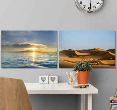 Un cuadro naturaleza moderno con diferentes diseños de paisajes, uno representa una duna de arena del desierto y el otro un mar con puesta de sol.