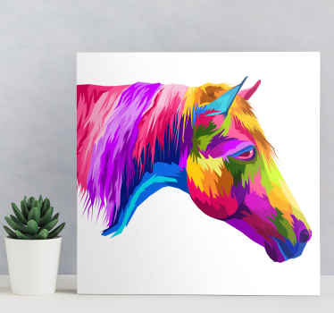 Horse canvas which  features a stunning image of a horse coloured in all the colours of the rainbow. High quality materials.
