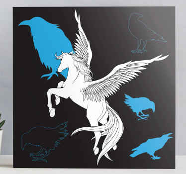 Pegasus canvas print which features an amazing picture of a winged horse with images of crows next to it. Easy to apply.