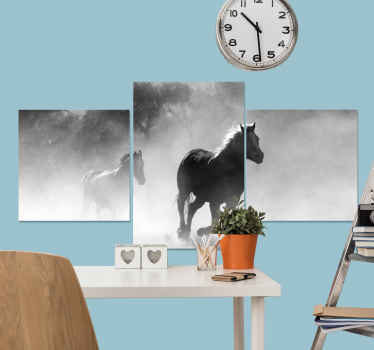 Horse canvas which features an image of two horses galloping through a forest. Extremely long-lasting material. High quality.