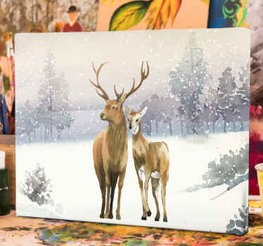Winter landscape with deer family canvas art - Suitable to decorate any space in the home, it is durable, made of quality material and does not fade.