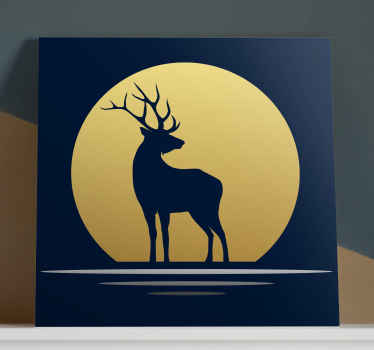 Stag canvas print which  features an image of a majestic stag with a gold moon behind it. Discounts available. High quality.