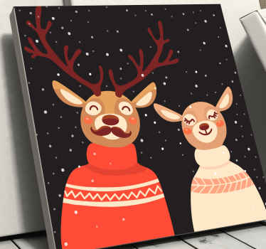 Deer couple in dress stag canvas. It black background depicts night time with snow fall.  It is original, printed in quality finish and durable.